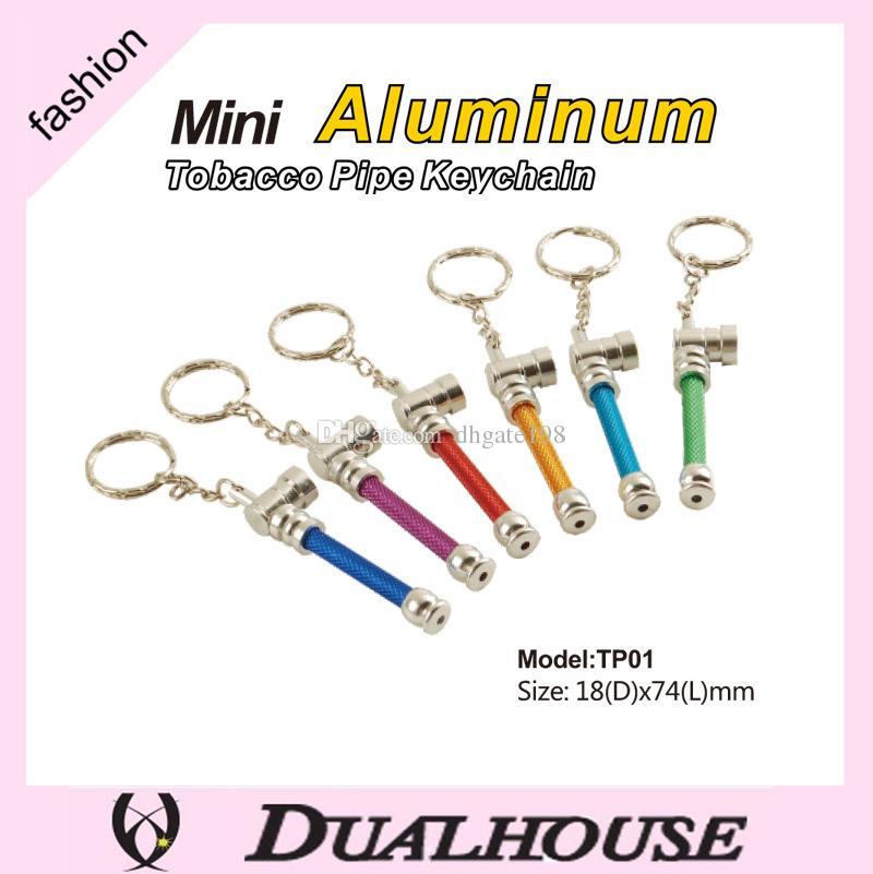 10 pz / lotto colorato catena chiave tubi di fumo in metallo Giamaica Reggae mini portatile aliminum mini tubi di tabacco erba