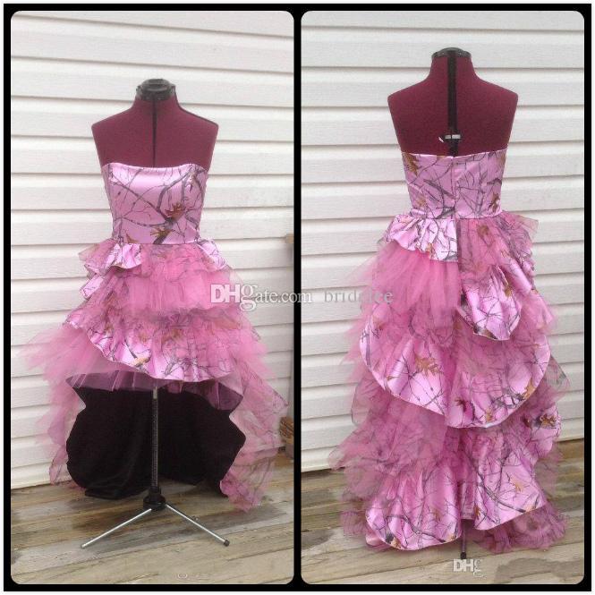 Compre 2017 Rosa Único Camo Vestidos De Baile Vestido Sin Tirantes ...