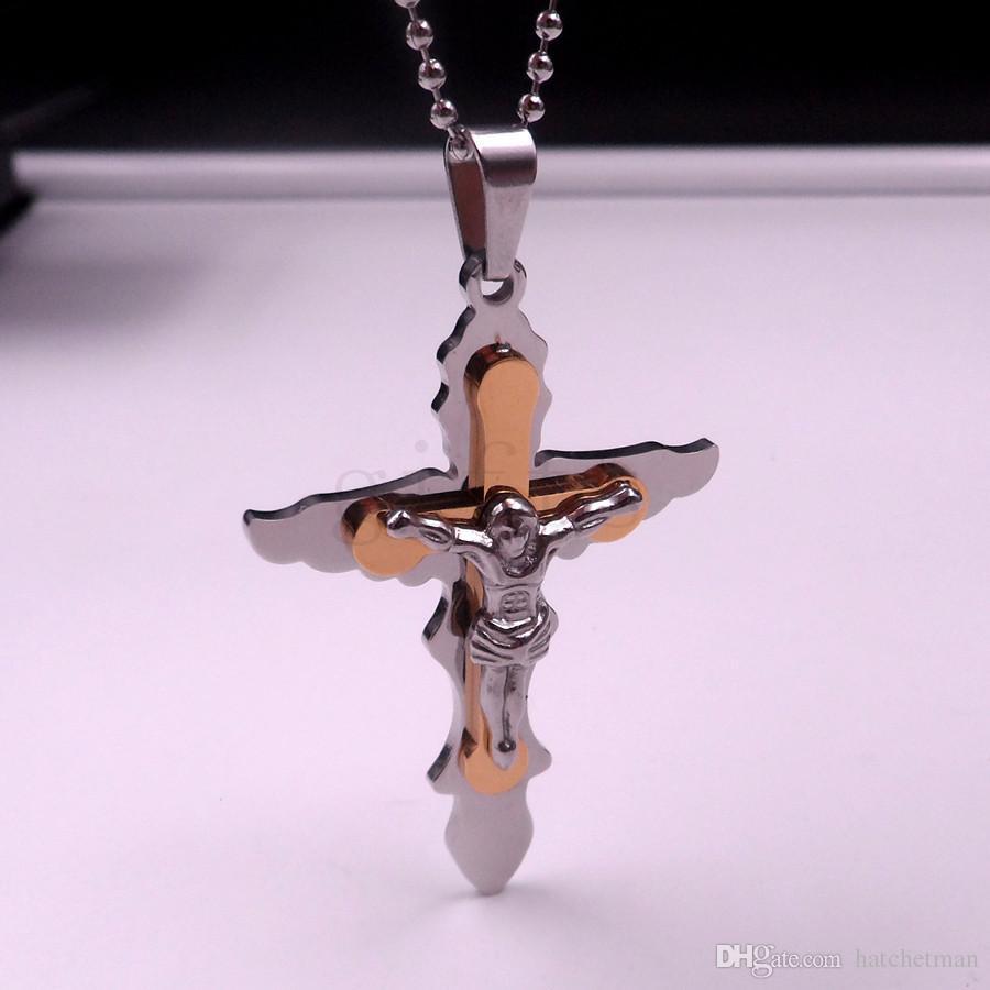 Оптовая мужская мода Иисус крест крыло нержавеющей стали кулон выбираемый стиль ожерелье