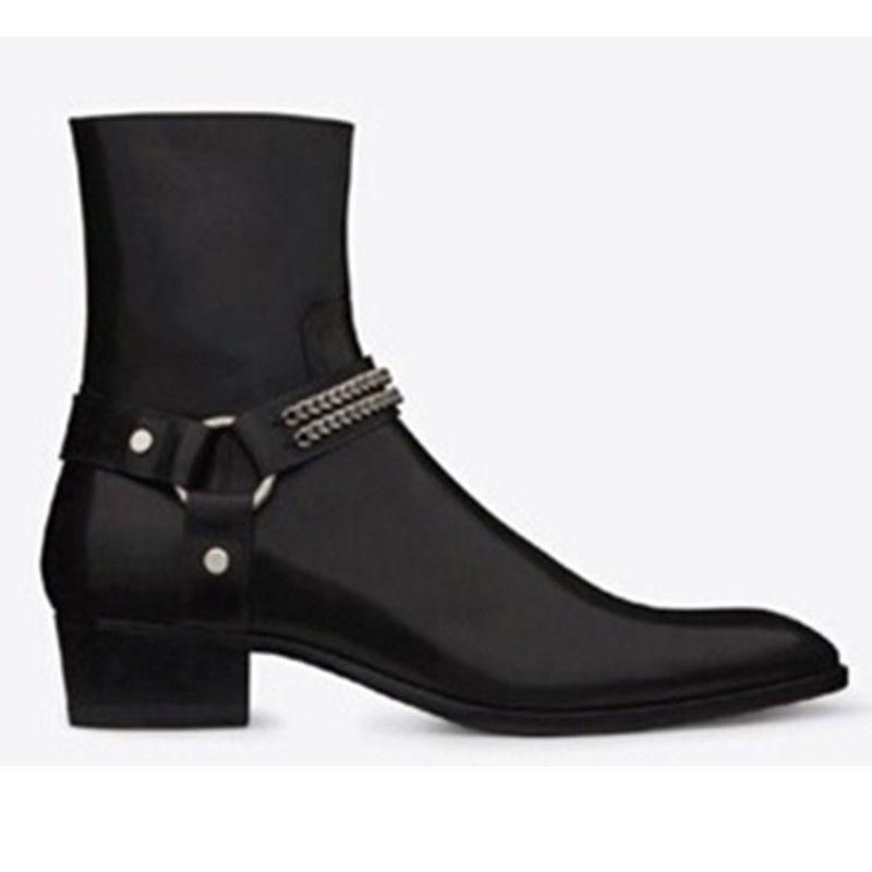 Mode Wyatt Biker Chaînes Bottines Hommes Chaussures Bout Pointu Boucle Hommes Bottes Brun En Cuir Hommes Robe Chaussures Botas Militares Chaussures Hommes