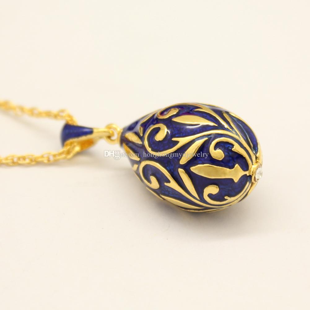 Altın kaplama emaye yaprak çiçek Faberge Yumurta charm Paskalya günü için Rhinestone Rhinestone Rus Yumurta Kolye Kolye