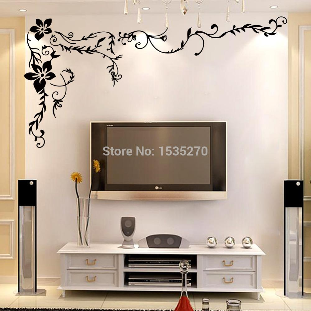 Wonderful Flower Vine Wall Stickers For Home Tv Background Wall Art 8461  Diy Black Beautiful Pattern Design Dropshipping Large Wall Decals Cheap Large  Wall ...