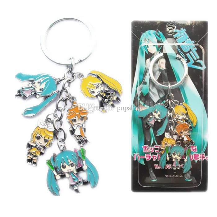 Hot!Mixed Classic Cartoon Hatsune Miku Figure pendants doll color metal keychain Japanese anime key ring