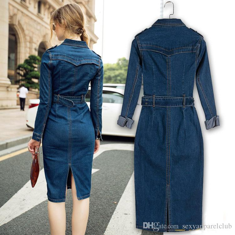Neue Ankunft 2016 Herbst Frauen Kleid Langarm Einreiher Schlanke Taille Denim Langes Kleid Vintage Umlegekragen Oversize Casual Dress