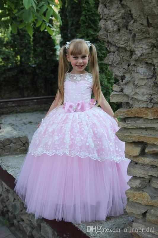 77d5d67403 Lovely Little Girl Pageant Dress Pink Princess Floor Length Lace Tulle Ball  Gown With Sash Bowknot Jewel Back Keyhole Flower Girls Dresses Flower Girl  ...