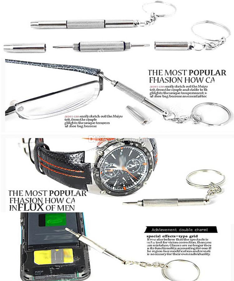 Tournevis 3en1 plus récent Eyeglass Sunglass montre le kit de réparation avec porte-clés Outils portatifs tournevis à la main Livraison gratuite WX9-190