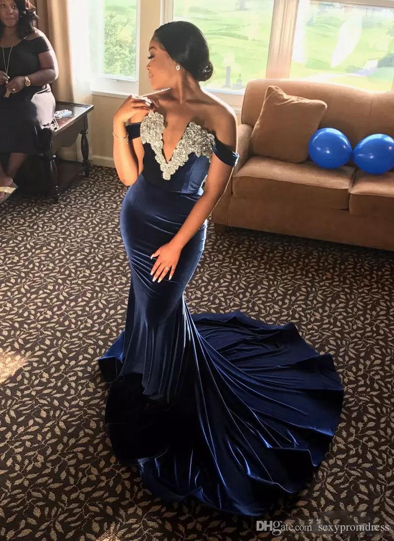 Azul marinho Sereia Vestidos de Baile Fora Do Ombro Profundo Decote em v Vestidos de Noite Branco Apliques de Renda Trem Da Varredura Mulheres Vestido de Festa Formal