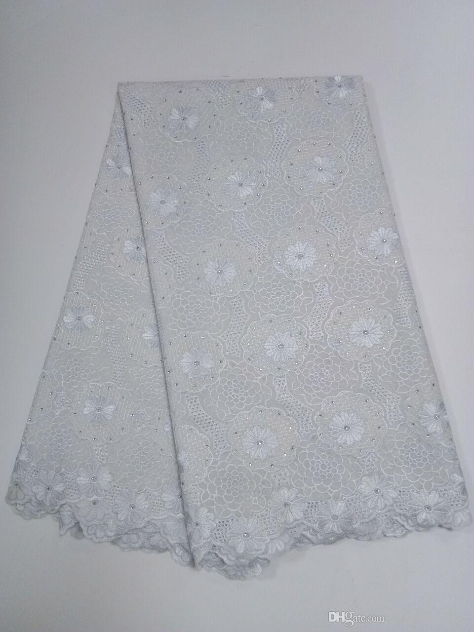 ig African Swiss Voile Lace High Quality Eyelet Cotton Swiss Lace Material Latest African Swiss Lace Fabric With Stones GYCL044