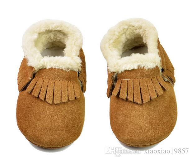 4e6441d341a25 2019 Suede Genuine Leather Baby Moccasins With Fur Fleece Lined Soft ...