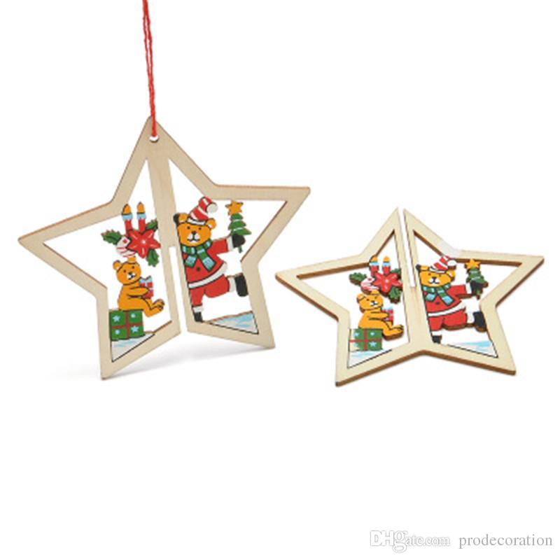 Christmas Carved Wooden 3D Hanging Props Holiday Party Xmas Home Decoration Cartoon Creative Decor Direct Factory Price Hot Sale