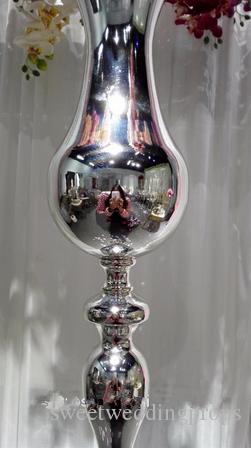 Peça central de vaso de flor decorativa prateada para wedidng corredor decoraiton