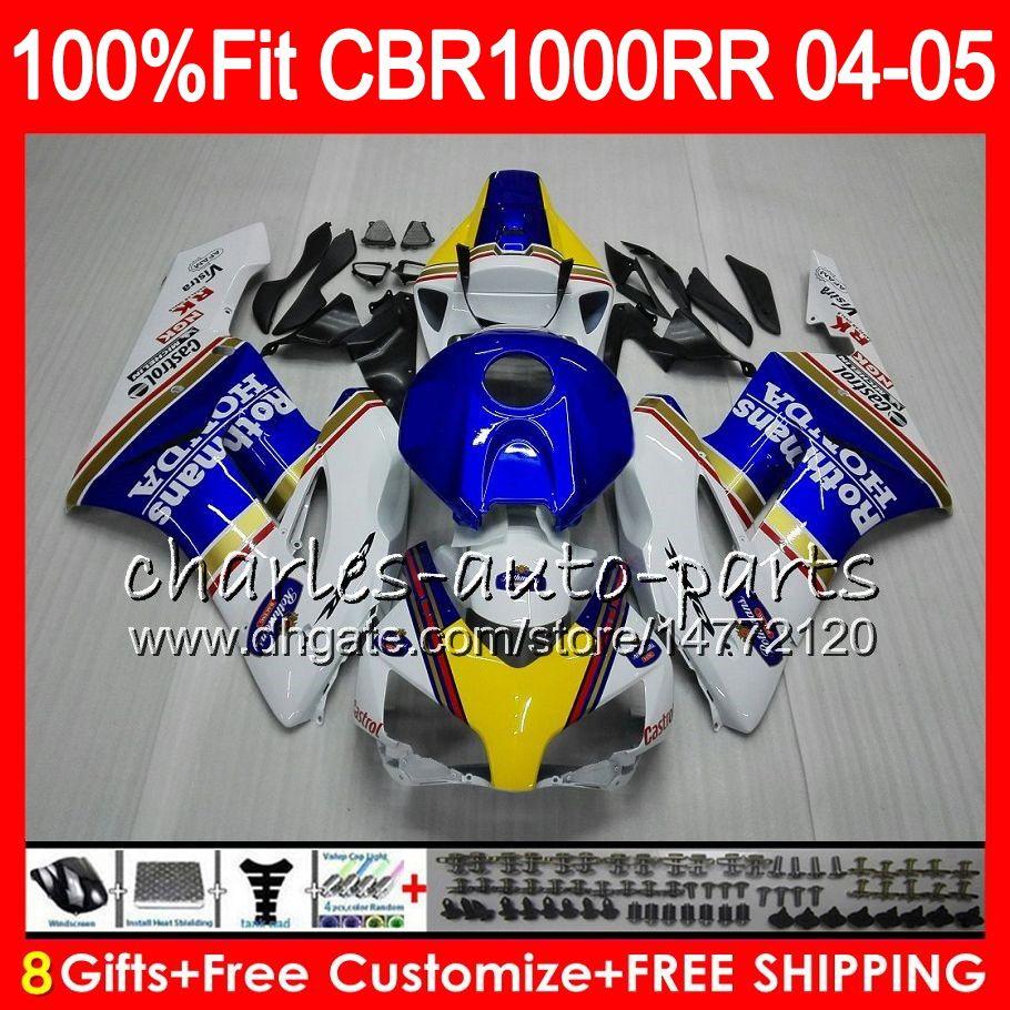 혼다 용 CBR 1000RR 04 05 인서트 바디 Rothmans Blue Bodywork CBR 1000 RR 9HM14 CBR1000RR 04 05 CBR1000 RR 2004 2005 페어링 키트 100 % Fit