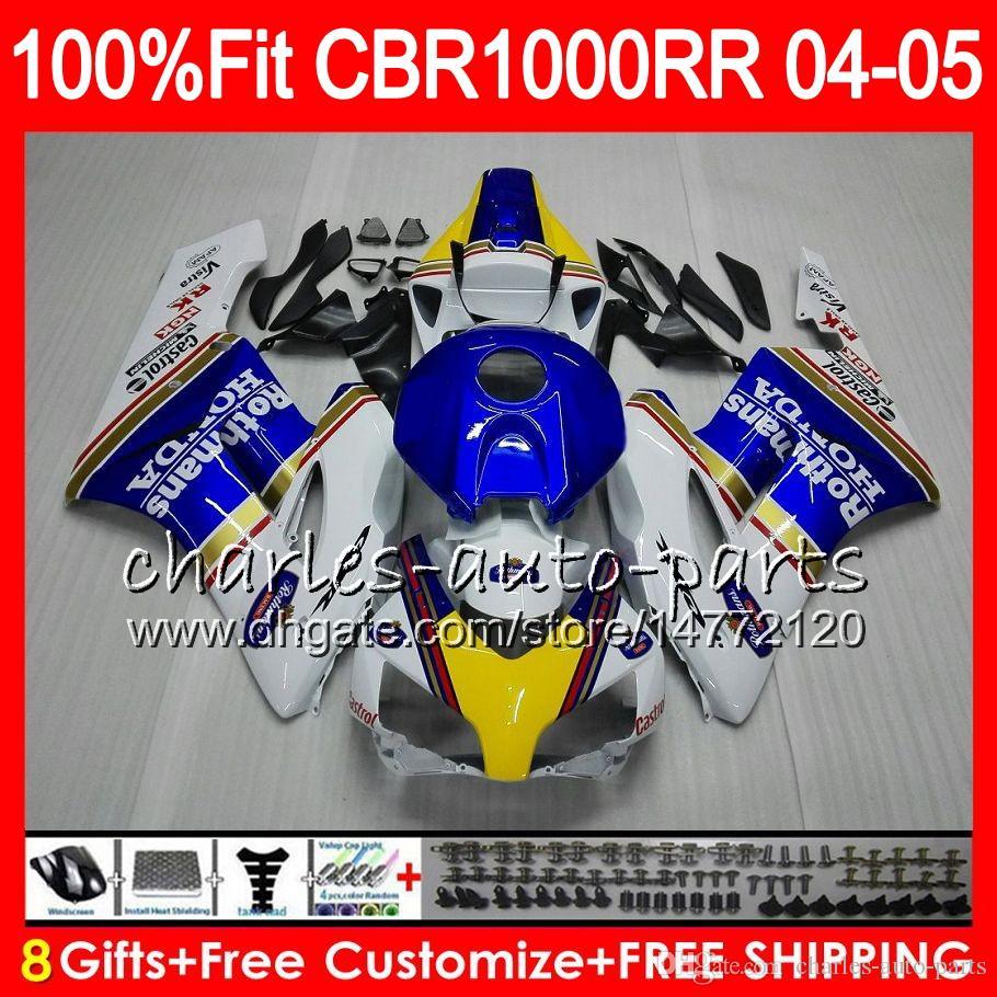 Corps d'injection pour HONDA CBR 1000RR 04 05 Carrosserie Rothmans Blue CBR 1000 RR 9HM14 CBR1000RR 04 05 CBR1000 RR 2004 2005 Ensemble de carénage 100% Fit