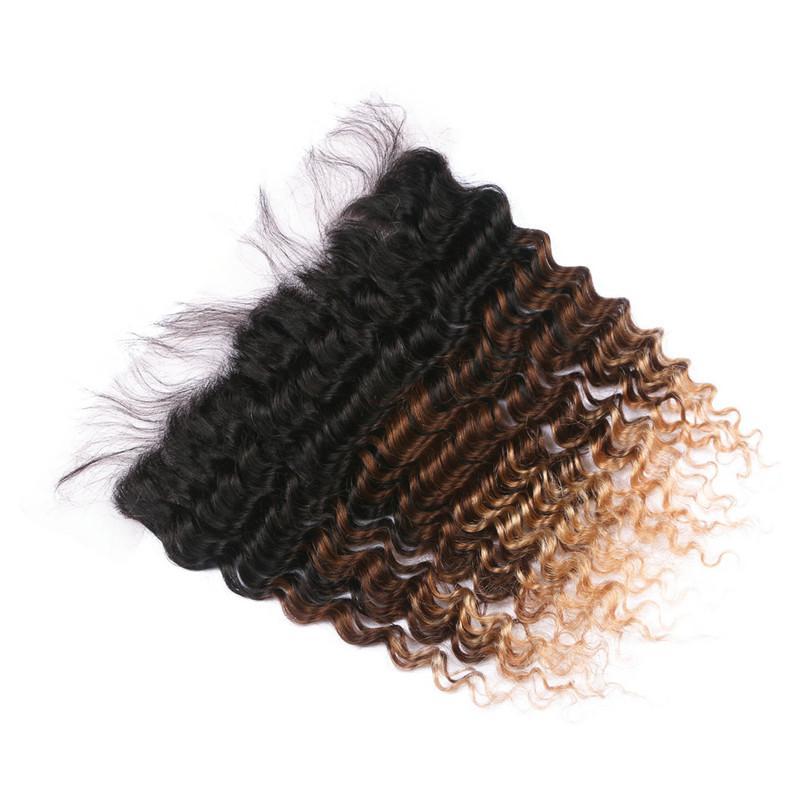 1B / 4/27 Honey Blonde Ombre Virgen brasileña del cabello humano teje con Frontal Deep Wave 3Tone Ombre 13x4 Frontal completo del cordón con 3Bundles
