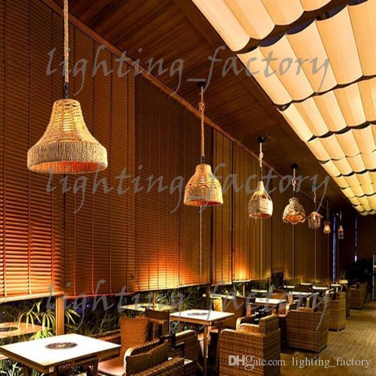 Hotsale Lampade a sospensione Illuminazione interni ROPE STRING Lampade a sospensione Fit Cafe Coffee Room Sala da pranzo 12 luci stile a sospensione