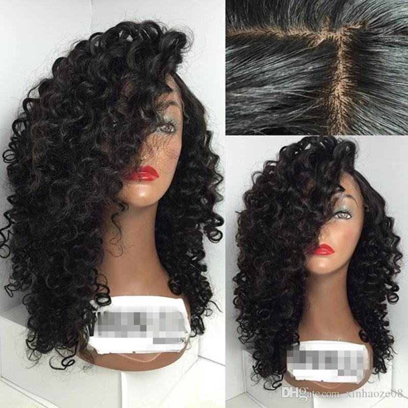 Peruvian Kinky Curly Front Lace Human Hair Wigs Hair Deep Curl Glueless Full Lace Wig With Baby Hair