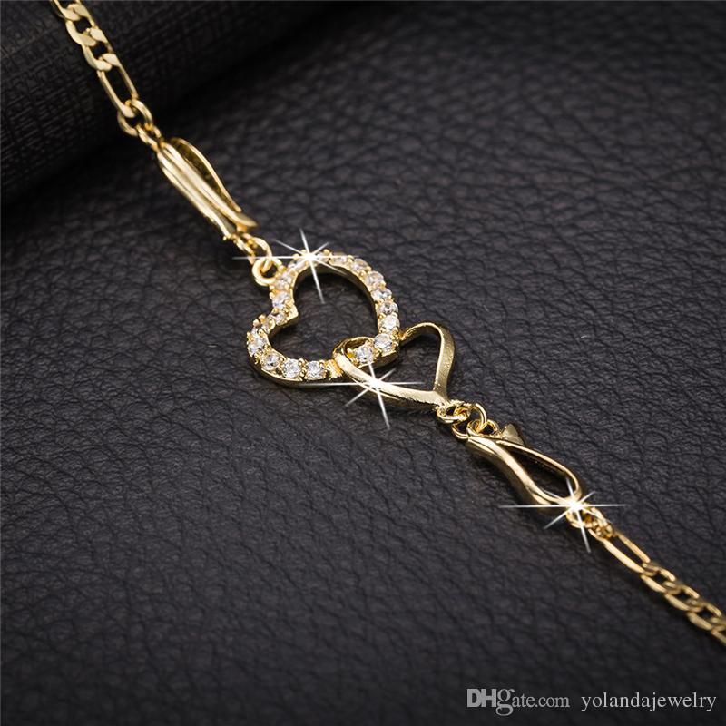 Düğün için Kız Kadınlar için Kadınlar Yaz Takı 18 k Sarı altın kaplama cz Çift Kalpler Halhal Zincir Bileklik