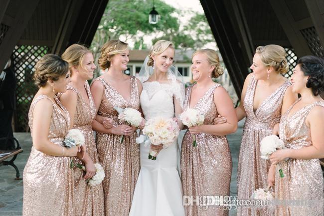 2016 Cheap Sexy V Neck Bling Rose Gold Sequins Bridesmaid Dress Plus Size Backless Real Image Maid Of The Honor Wedding Party Gowns