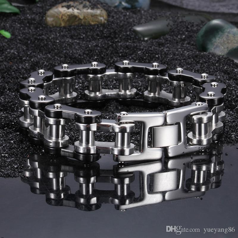 Alta qualità Chunky acciaio inossidabile 316L Gotico moto da uomo Bracciale catena a maglia argento nero 9.2