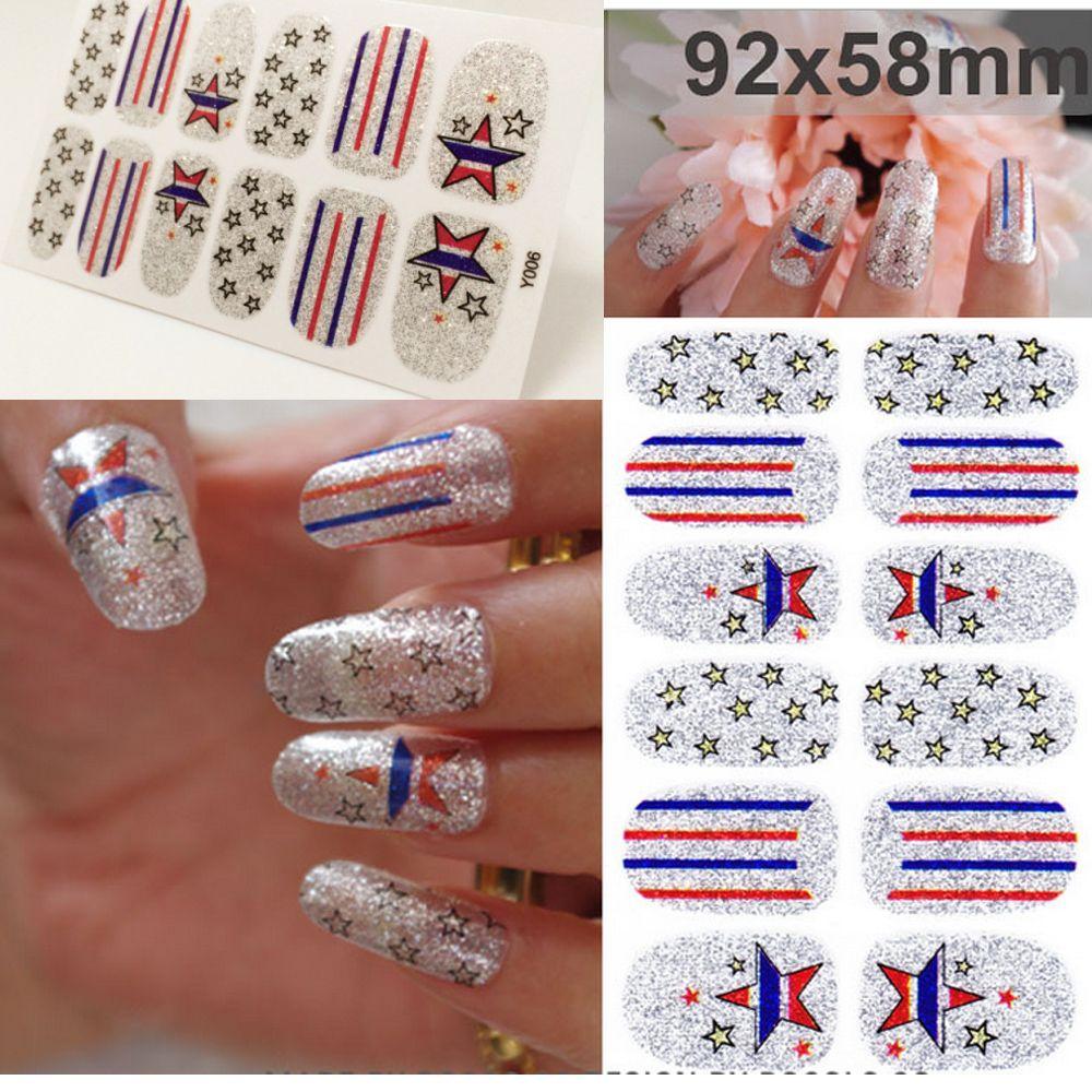 Y5006 Nail Art Sticker Nails DIY SilverNails Art Sticker Colorful ...