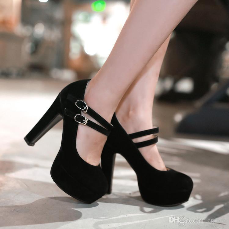 Pompalar Akın Yeni Ayakkabılar Kadın küçük metre 32 33 Büyük boy 46 45 44 43 42 41 40 Yüksek Topuk 12CM Platform 4CM EUR Boyut 31-47