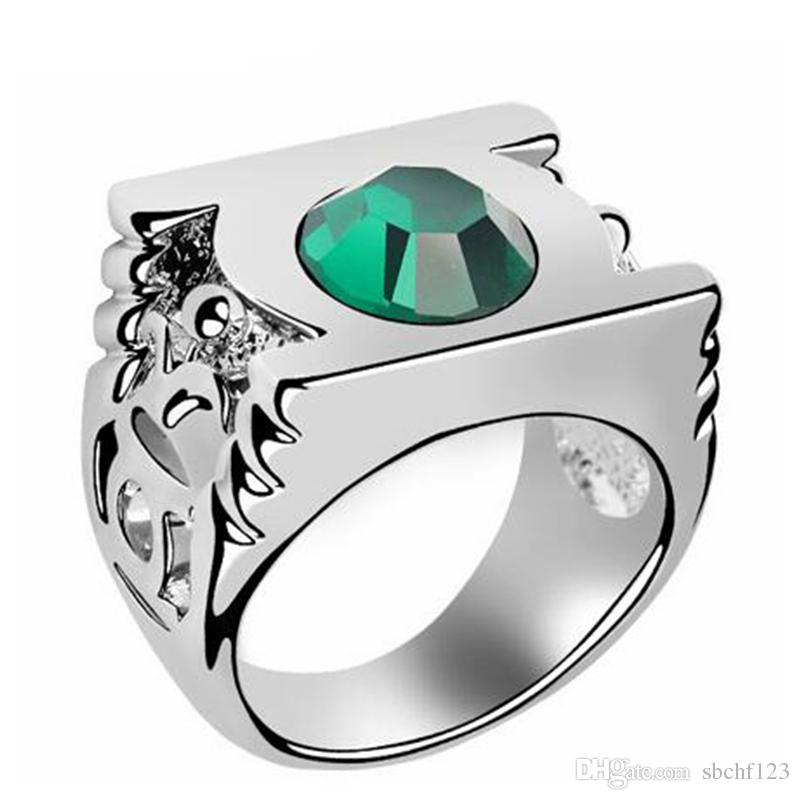 korean fashion exaggerated green lantern rings austrian crystal wedding rings for women branded design 18k white gold plated 4183 engagement rings - Green Lantern Wedding Ring