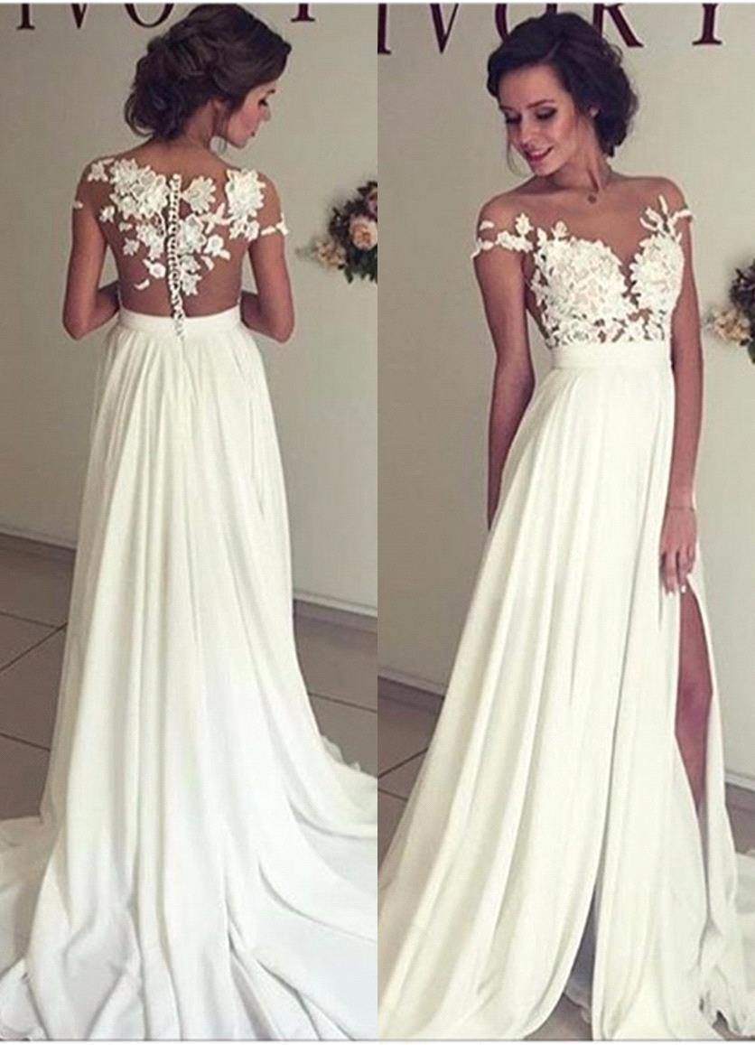 Discount 2017 Summer Bohemian Beach Wedding Dresses Cheap Chiffon Sheer Crew Neck Lace Appliques High Spplit Hollow Back Boho Bridal Gowns
