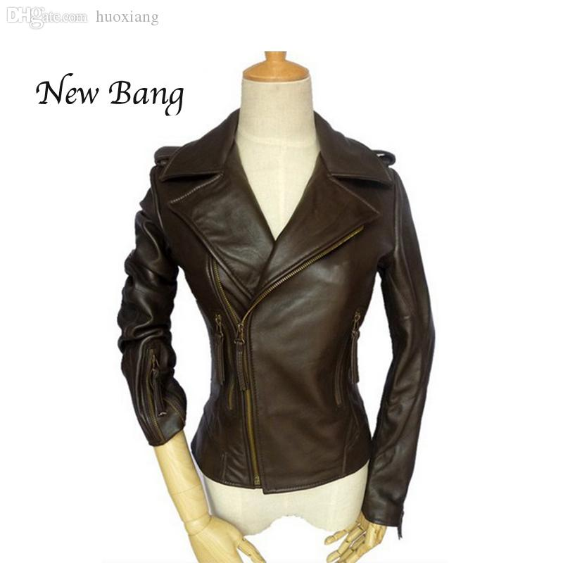 0cecacbec Wholesale-2016 Genuine Leather Jacket Women Brown Motorcycle Real Leather  Jacket Short Women's Sheepskin Coat chaquetas de cuero mujer