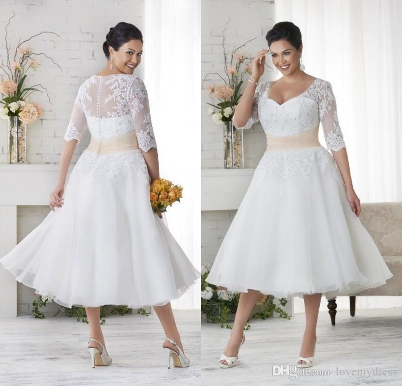 2021半袖Vネック覆われたボトンアップリケ結婚式のブライダルガウンドレスセクシーなデザインを持つ熱い茶長さの短い結婚式のブライダルドレス