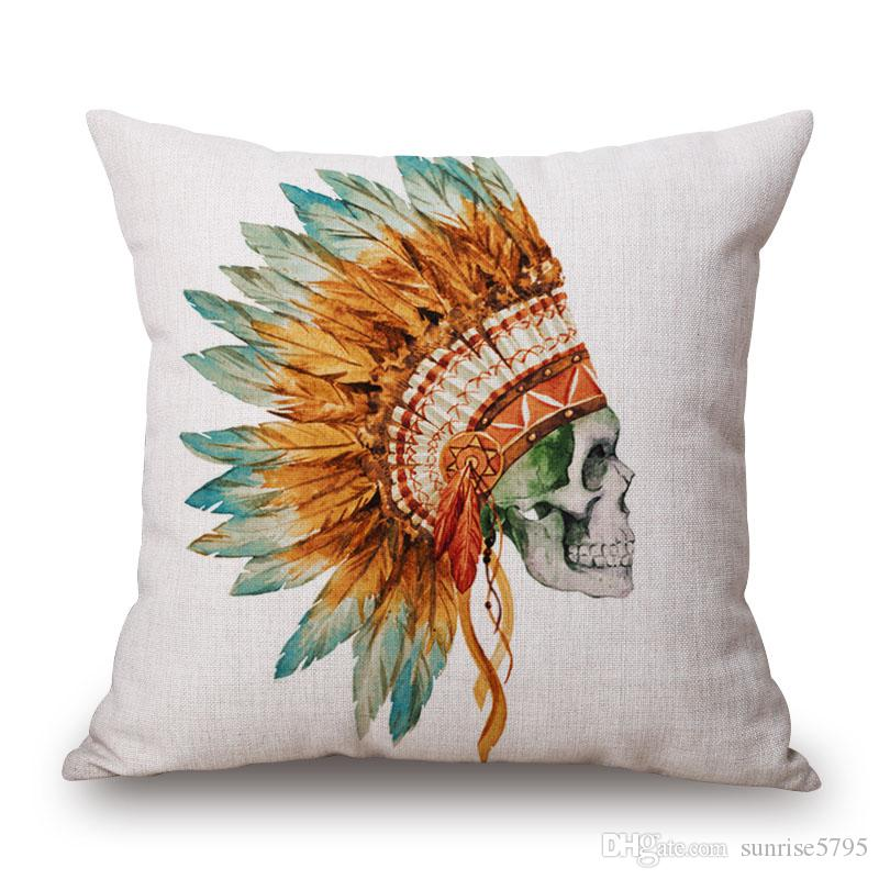 tribal skull cushion cover watercolor chaise chair throw pillow case antelope almofada flowered antler cojines halloween decor