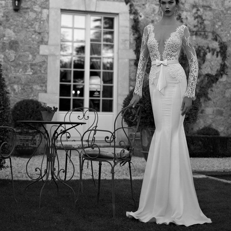 Custom Made Israel Design Haute Couture Lace Long Sleeve Mermaid