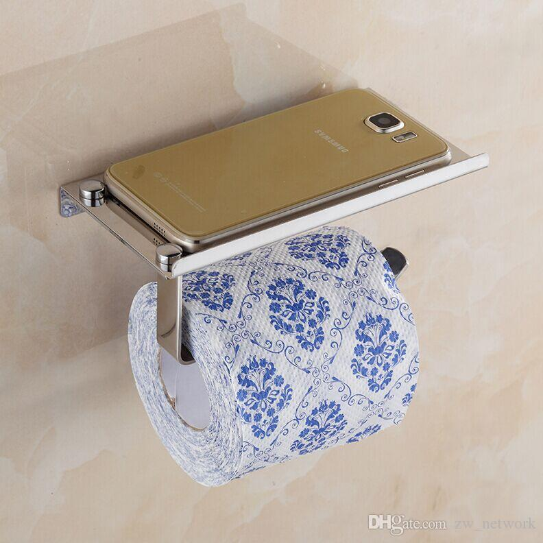 Creative Toliet Paper holder Mutifunctional Bathroom Hardware Organizer Stainless steel toilet roll paper mobile phone holder