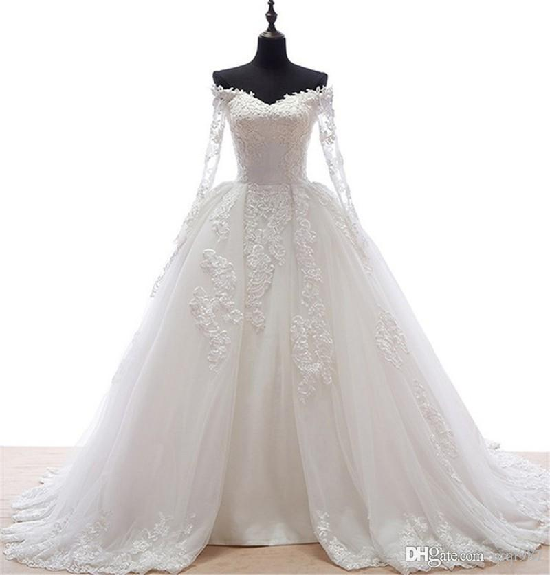 Real Sample Vintage Long Sleeve Wedding Gowns 2017 High Quality ...