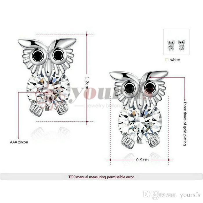 Yoursfs Lovey Animal Owl Earrings 18 K White Gold Plated Exquisite Owl Earrings For Women Brithday Gift Sunmer Wear Fashion Classy Jewelry