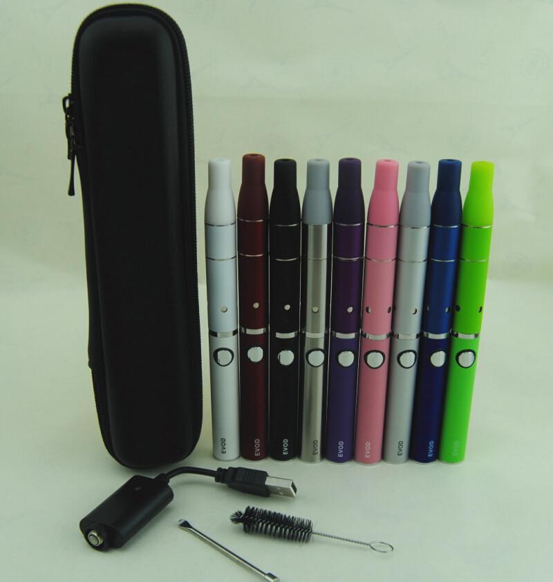 Erva seca vaproizer vape canetas de cigarros eletrônicos ego evod starter kits ecig bateria evod atrás g5 herbal vapor atomizador zipper case kit
