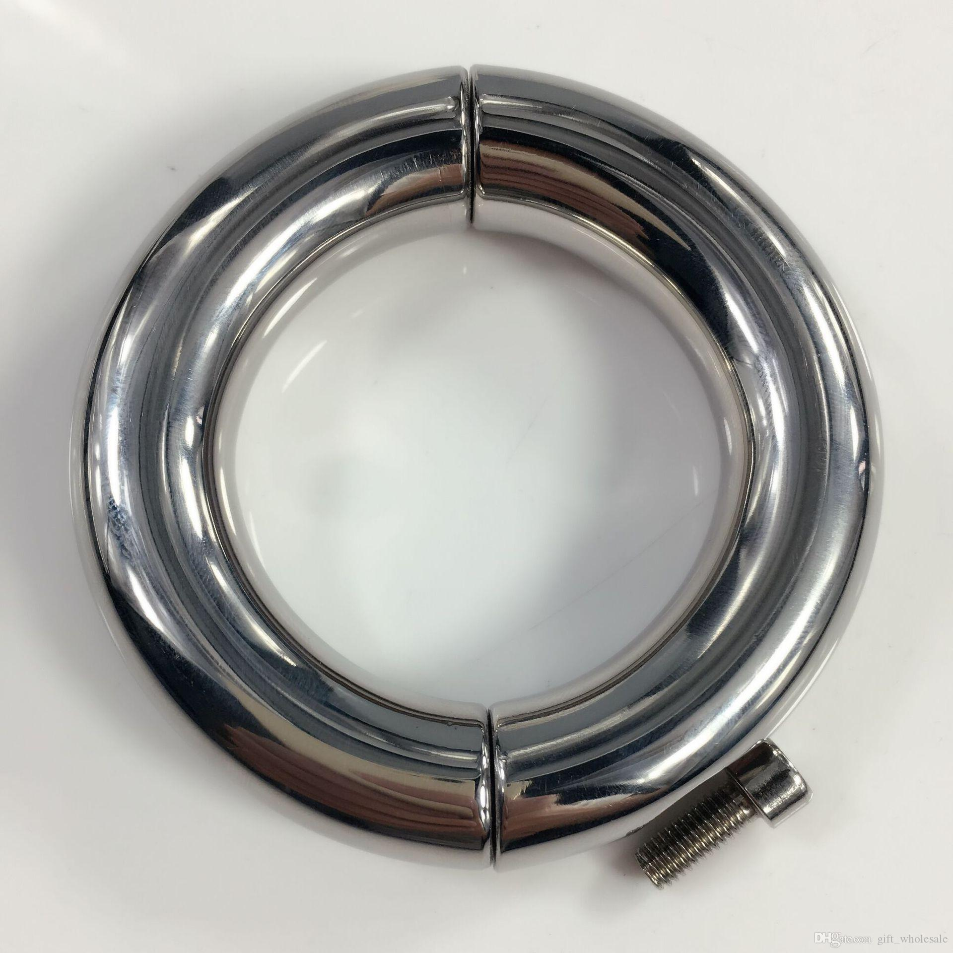 Nouvellement mâle rond extrême métal lourd anneaux coq civière en acier inoxydable Scrotum bondage appareil civière testeur poids balle