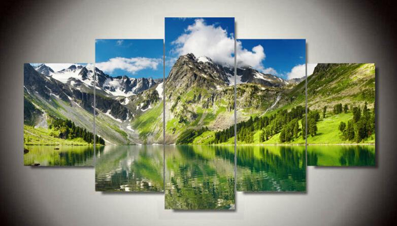 5 Piece White Cloud Snowy Green Lake Yellow Mountain Home Wall Decor Canvas Picture Art HD Print Painting 5 pcs/set