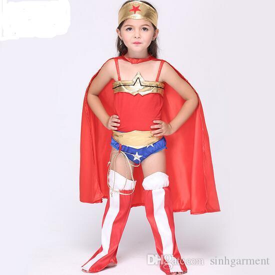 Best Girl Wonder Woman Costume Dress Kids Halloween Superhero Costumes Head Towel+Cape+Teddy+Feet Cover+Whip+Belt Under $25.13 | Dhgate.Com  sc 1 st  DHgate.com & Best Girl Wonder Woman Costume Dress Kids Halloween Superhero ...