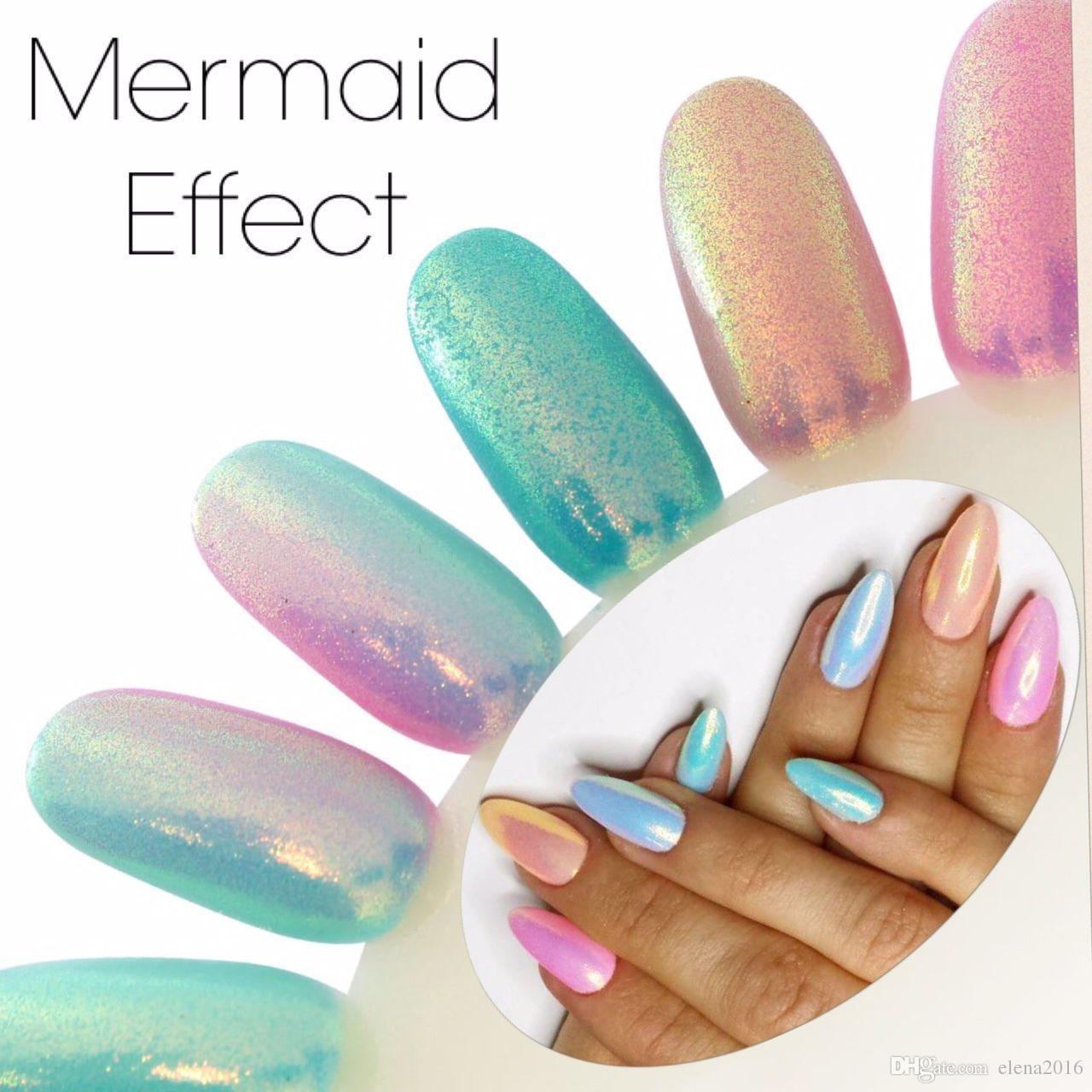Compre Sirena Efecto Glitter Nail Art Uñas En Polvo Pigmento Glitter ...