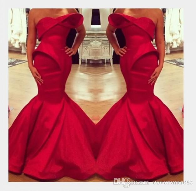 Sexy Saudi Arabian Design Red Evening Dresses Sweetheart Mermaid Satin Floor Length Prom Dress Custom Made Party Gowns