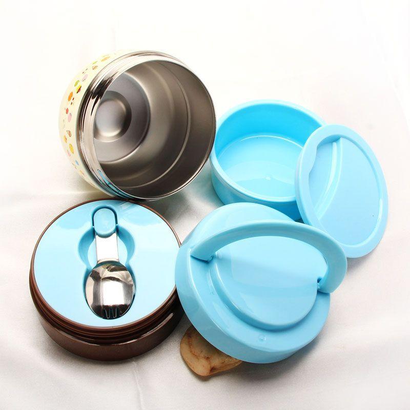 Tragbare europäische Bento Box Wärmedämmung Hochwertiger Edelstahl Bento Lunchbox Isolierte Lebensmittel Geschirr für Kinder Mahlzeit Prep