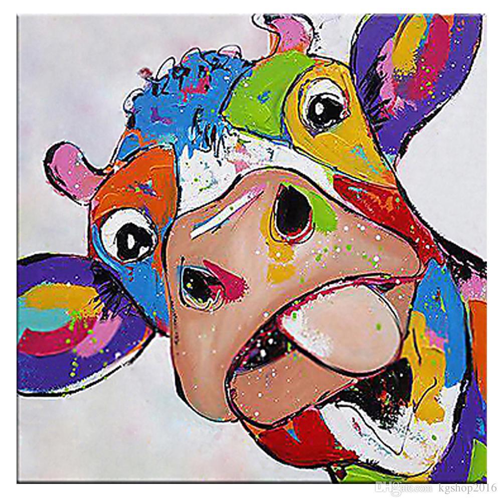 Kagree Renkli Inek Kafa Boyama Sevimli Hayvan Resimleri Komik Duvar Sanatı Dekor Oturma Odası Otel Hediye Için Hiçbir çerçeve 28x28 Inç