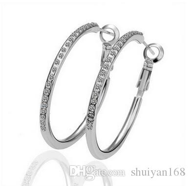 Circle Diamond Hoops Earrings Gold Plated Stud Plated 18K Rose Gold Crystal Rhinestone Fashion Jewelry for Women