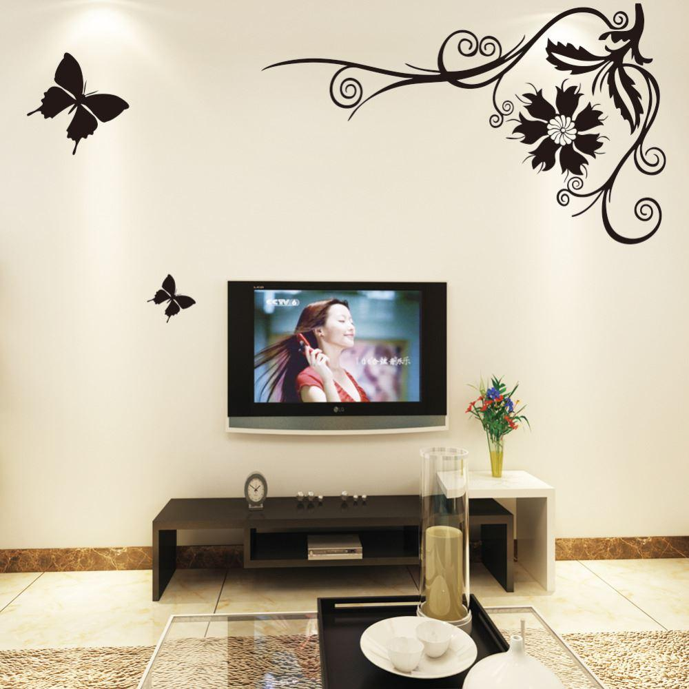 Black Butterfly Flying Flower Vine Wall Stickers Paper Poster Art ...
