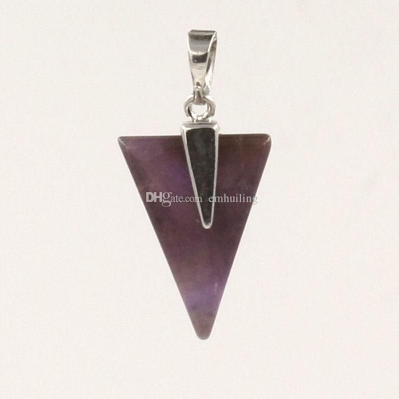 Natural Rose Quartz Crystal India Geodes Rock Silver Plated Pyramid-Finest Triangle Healing Energy Point Hand Polished Pendants for Necklace