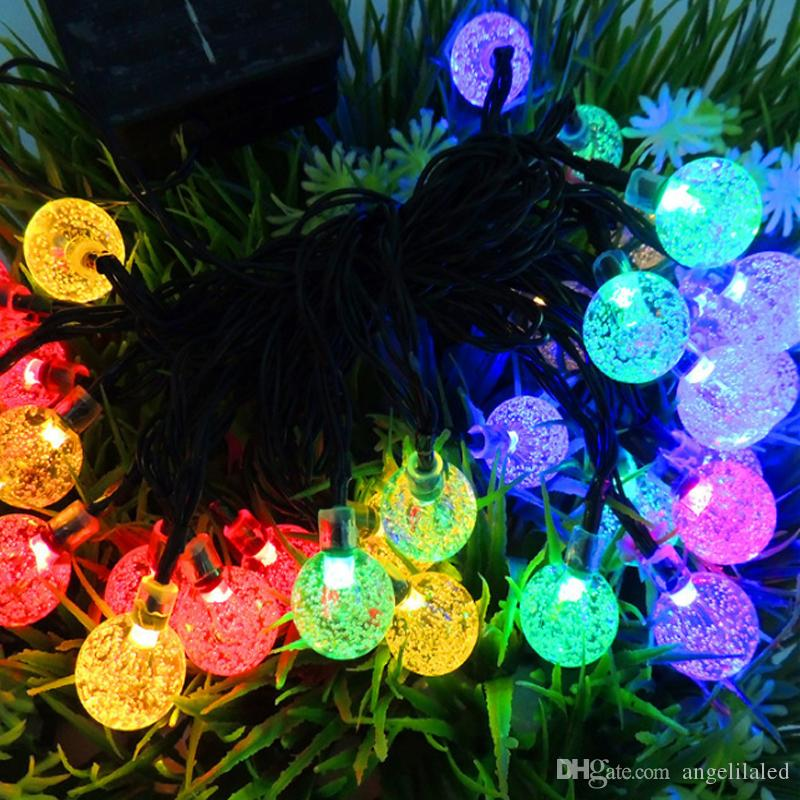 solar powered christmas lamp string light 6m 30 leds bubble ball fairy lights lamp christmas festival decors new year garden decorations globe light string