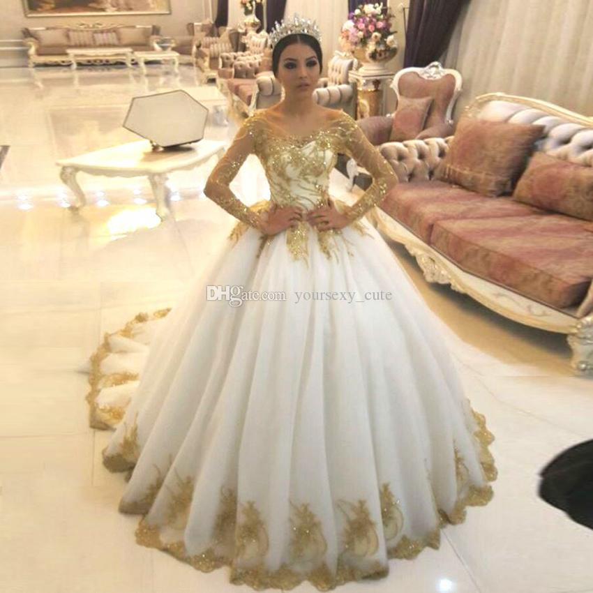 Long Sleeves Ball Gown Wedding Dresses Off Shoulder Gold Appliques ...