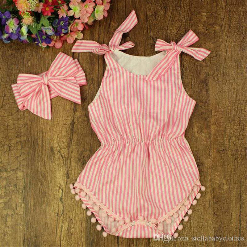 3169f7e60490 Summer Baby Rompers Kids Clothing Cotton Striped Baby Girls Romper Pom Pom  Baby Cotton Romper Kids Playsuit with Bow Headband Cotton Baby Rompers Baby  ...