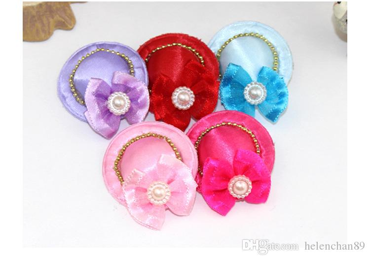 Luxury Pet Cat Dog Hair Clip with Hat Pet Hairpin Bow Tie Ornaments Hat Christmas Party Wedding Hair Decoration