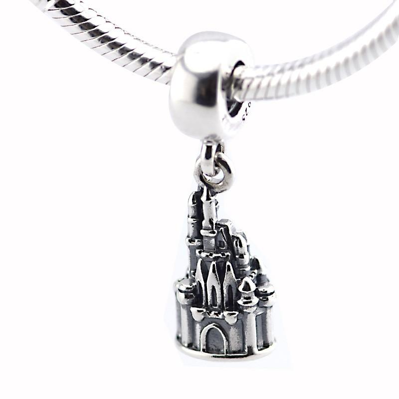 Fits pandora Charms Bracelet 100% 925 Silver Walt World Cinderella Castle Charms Sterling-Silver-Jewelry Charm Pendants Jewelry